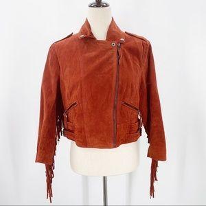 F21 Genuine Leather Moto Jacket Easy Rider Cropped Fringe Burnt Orange Jacket